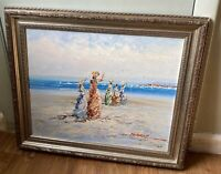 SPATULA FRENCH STYLE SEASIDE BEACH VTG OIL PAINTING CANVAS SIGNED MARIE CHARLOT