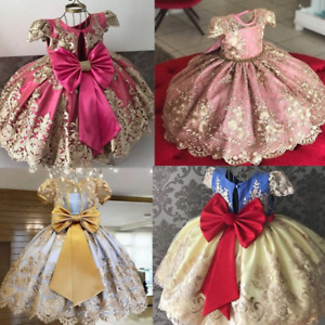 AU Flower Girl Lace Girls Kids Pageant Dresses Weeding Formal Gown Bow Tie Dress