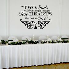 """Two Hearts that Beat as One Wedding Wall Decor Vinyl Sticker Decal 22""""h x 30""""w"""
