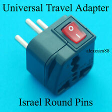 Universal UK USA Euro AUS to Israel Round Travel Adaptor AC Power Plug + Switch