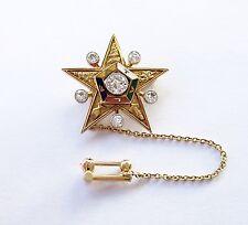 1922 DAWKINS BENNY Masonic Star 14K Gold 6 Diamonds Enamel Medal Pin HAWAII