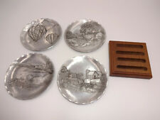 5 Pc Wendell August Forge Coaster Set & Holder Balloons Deer Pittsburgh Amish