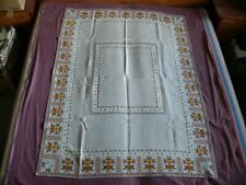 #1778 Beautiful Vintage Hand Made Linen Tablecloth 154cm/116cm(60'' ;x45'')