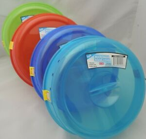Set of 4 Plastic Microwave Plate Covers With Steam Vents Lid Food Splatter