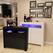 High Gloss LED Light Sideboard Modern Cabinet Cupboard Buffet Gloss White/Black
