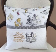 Winnie The Pooh Pocket Pillow. Baby Reading Pillow. 16X16 Embroidered Pillow.