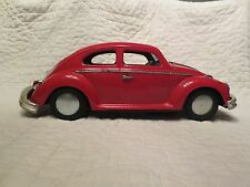 "Vintage Tin Bandai Tin Battery Op Bump-n-Go 1960's VW Beetle Toy Car 15"" Japan"