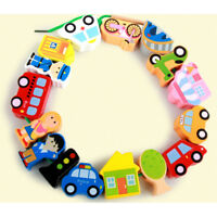 Wooden Lacing Beads Blocks Box Threading Educational Toy Game For kids CITY FBL