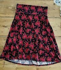 LuLaRoe Women's MAXI Size M Fall Skirt  Black with Pink Magenta Orange Floral
