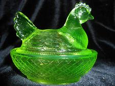 Green Vaseline glass hen chicken on nest basket candy dish rooster chick Uranium