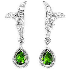 Natural GREEN CHROME DIOPSIDE & WHITE CZ 925 STERLING SILVER EARRINGS