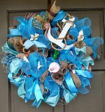 Coastal Beach Sea Shell Deco Mesh Wreath Nautical Spring Summer Boat Door Decor