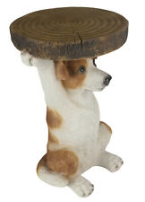 36CM JACK RUSSELL DOG  SIDE OCCASIONAL TABLE TREE TRUNK TOP STATUE POLYSTONE