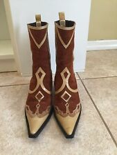 DOLCE GABBANA DESIGNER POINTY COWBOY COWGIRL SUEDE LEATHER HAIR BOOT SHOES 38/ 7