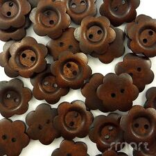 10pcs Dark Brown Wood Flower Buttons Lot 2 Holes Craft Sewing Cards DIY 25MM
