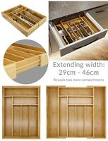 Bamboo Extending Cutlery Tray Drawer / Organiser / Expandable & Adjustable #Z13