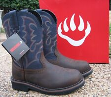 """NEW Mens Wolverine RANCHER Brown Blue Leather Soft Toe, 10"""" Work Boots W10835"""