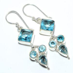 """Blue Topaz Gemstone 925 Sterling Silver Handmade Earring Jewelry 2.03"""" S2649"""