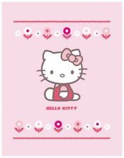 Hello Kitty Fleecedecke rosa Blumen ca. 110 x 140 cm
