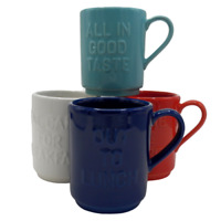 4 Kate Spade All In Good Taste Stacking Mugs Lenox Blue Red White Teal Set