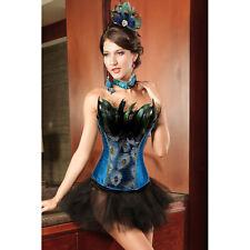 Burlesque Peacock Showgirl Costume Corset & Skirt - 8,10,12,14,16,18,20,22