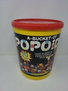 1985 Vintage BUCKET of POPOIDS Tomy Plastic Construction TOYS Learn VTG