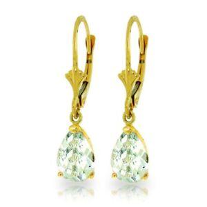 Genuine Aquamarine Pear Cut Gems Leverback Earrings In 14K Yellow Gold (2.85 ct)