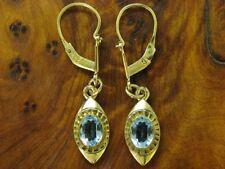 8kt 333 Gelbgold Ohrhänger mit 1,20ct blauem Glas Besatz / Ohrringe / 1,8g