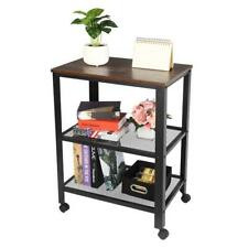New listing Metal Serving Cart Kitchen Storage Mobile Cart 3 Tiers with Wheels Rustic Brown