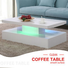 High Gloss White Coffee Table with LED Lighting & Shelf Remote Control Rectangle