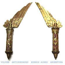 Rare antique brass decorative powerful wing feather bird