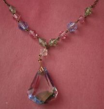 NC499) Vintage Antico ARCOBALENO IRIS CUT GLASS ART DECO pera Drop Ciondolo Collana
