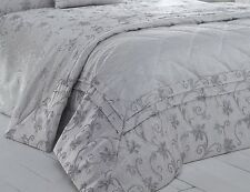QUILTED LUXURY WOVEN JACQUARD RAVINA SILVER BEDSPREAD THROW OVER ELEGANT FLORAL