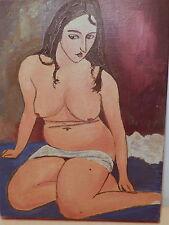 Tableau peinture femme assise nue féminin