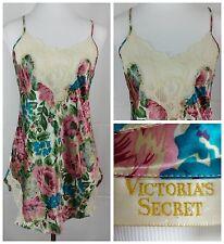 Victoria's Secret Floral White Lace Satin Slip Nightie Lingerie Chemise Size S