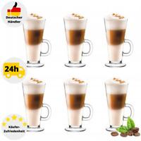 6 Latte Macchiato Gläser mit Henkel Kaffeegläser Coffee Gläser Teeglas 250 ml