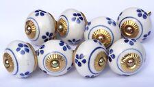 Céramique Tiroir Boutons de porte d'ARMOIRE COMMODE rond bleu et blanc (cuivre)