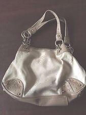 Kathy Van Zeeland Handbag Beige Canvas Studs 14 x 9 x 3 1/2 Super Clean