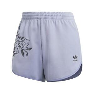 adidas ORIGINALS WOMEN'S LILAC FLORAL SHORTS PURPLE SUMMER HOLIDAY COMFY LOUNGE