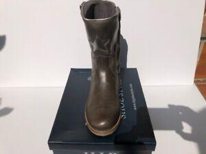 HIP Shoes H5324 Lederstiefellette mit RV in Grau mit silbernem Stern, NEU!