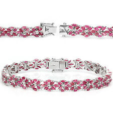 Sterling Silver 925 Genuine Marquise Pink Ruby Gemstone Bracelet 8.25 Inches