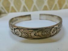 Antique Qing Chinese signed pure silver cuff bangle bracelet 36g sterling lotus