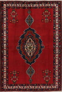 Tribal Medallion Oriental Wool Hand-Knotted Area Rug RED Traditional Carpet 5x7