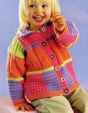 Knitting Pattern Baby Childrens Aran Patchwork Sampler Cardigan Jacket Collar
