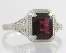 Antique Estate 14K White Gold 1.33ct Garnet Engraved Filigree Art Deco Ring