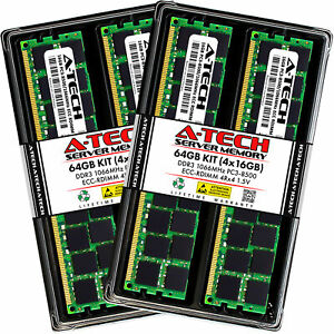 64GB 4x 16GB RDIMM Memory RAM for DELL POWEREDGE R520 R5500 R610 R620 R710 R715