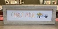 """Rae Dunn - CARROT PATCH - Standup Wooden Sign - 14""""L x 5""""H - Easter / Spring"""
