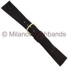 19mm Milano Brown Genuine Lizard Flat Unstitched Mens Watch Band Regular