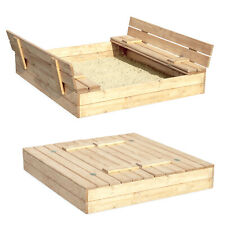 Sandkasten Sandbox Klappdeckel Sitzbänken 120x120 Holz  NATUR