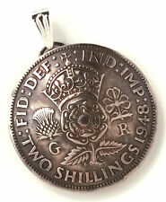 UK England Crown Tudor Rose Shilling Pendant Vintage Jewelry Necklace Britain